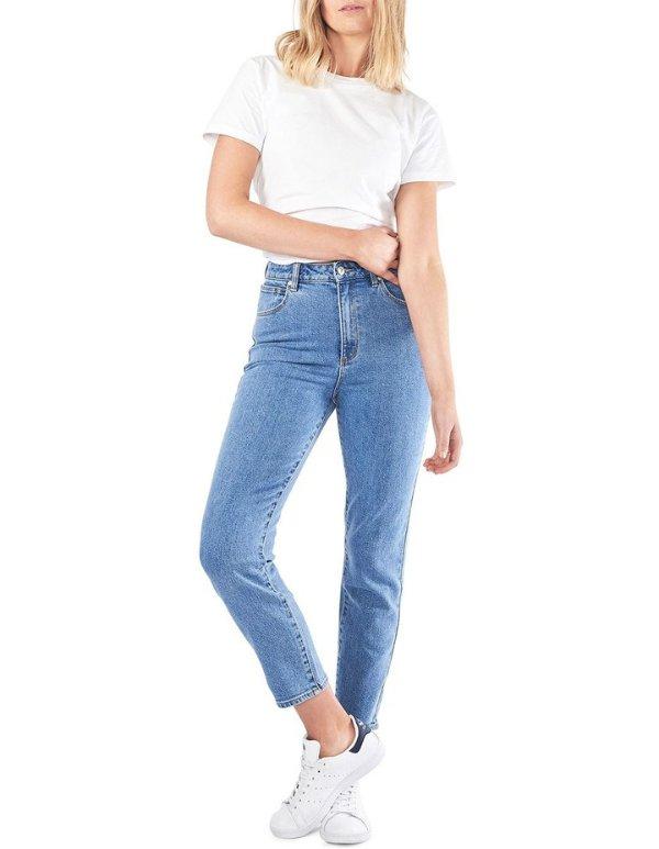 高腰复古牛仔裤