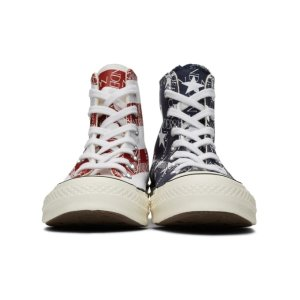 JW Anderson- Indigo & Red Converse Edition Grid Logo Chuck 70 Hi Archive Print Sneakers