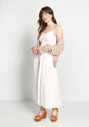 ModCloth Quite Clearly Charismatic Midi Dress White | ModCloth