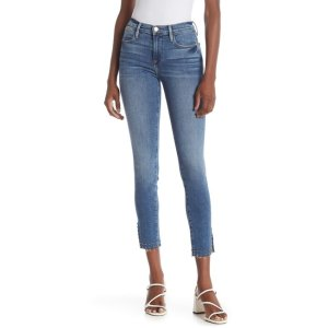 Frame DenimLe High Studded Raw Hem Skinny Jeans