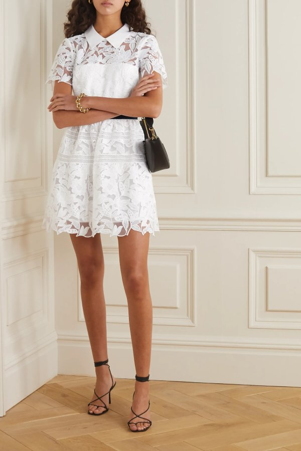 Grosgrain-trimmed 蕾丝连衣裙