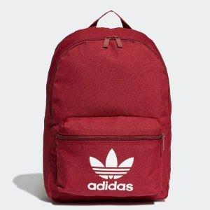 Adidas纯色双肩包 红色