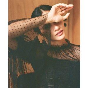 Self-Portrait虞书欣同款黑色波点喇叭袖抽褶上衣