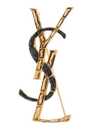 Saint Laurent Black and gold-tone logo brooch - Harvey Nichols