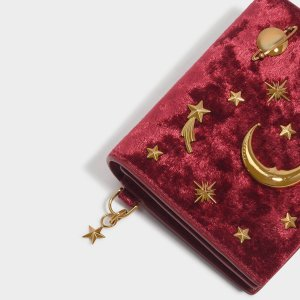 Charles & KeithSnap Button Galaxy Embellished Velvet Card Holder