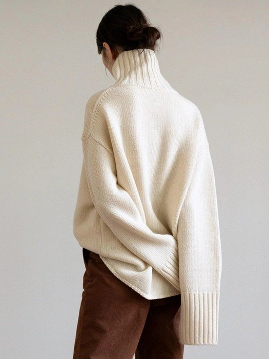 高领廓形毛衣