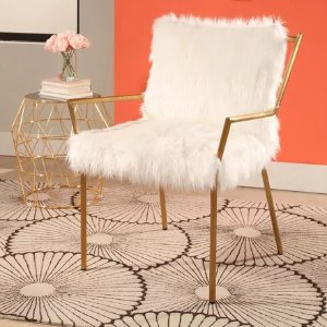Jessica Gold Stainless Steel Faux Fur Armchair