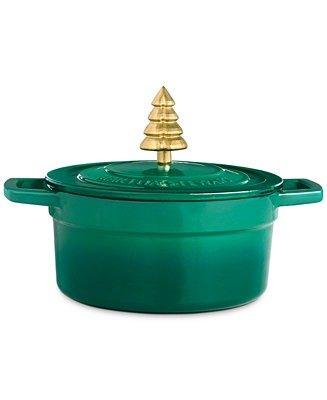 2夸脱圣诞树珐琅铸铁荷兰锅