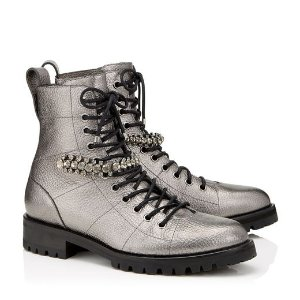 Jimmy Choo CRUZ FLAT金属银短靴