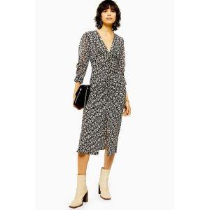 TopshopIDOL Mix Fabric V Neck Ruched Midi Dress