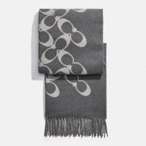 Coach95%羊毛 5%羊绒羊毛混纺围巾