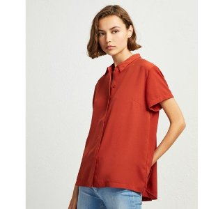 French ConnectionClassic Crepe Pleated Back Shirt