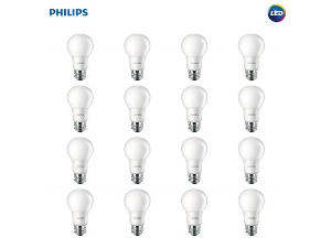 Philips LED Non-Dimmable A19 Frosted Light Bulbs 16-Pack
