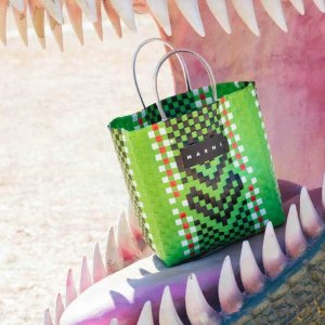 Marni绿色编织菜篮子