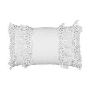 Fringe Cushion - Creme