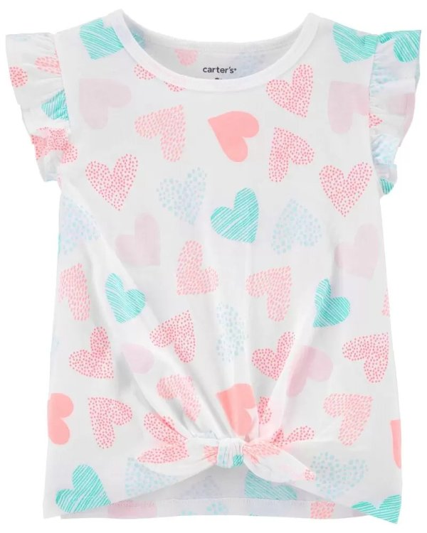 儿童心心飞袖T恤