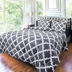 $31.99(原价$36.99)Utopia Bedding 仿鹅绒格纹印花被3件套 蓝色灰色可选