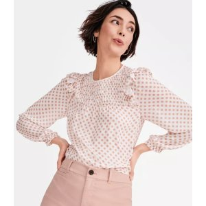 LOFT Outlet$10 off $100Gingham Smocked Ruffle Blouse