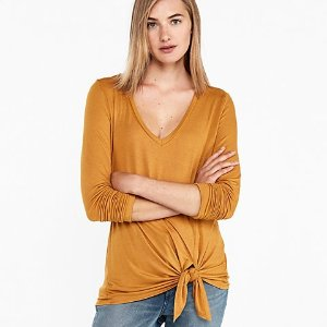 ExpressOne Eleven V-neck Tie Front Easy Tee