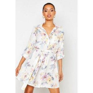 BoohooFloral Shirt Dress | boohoo