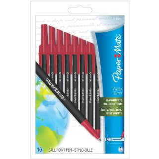 $1.87Paper Mate Write Bros. Recycled Stick Medium Point Ballpoint Pens, 10 Red Ink Pens