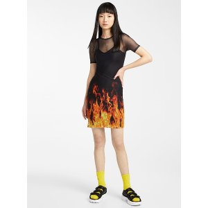 Daisy StreetBright flames mesh dress