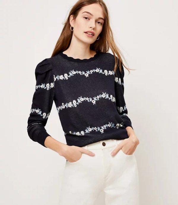 印花泡泡袖针织衫