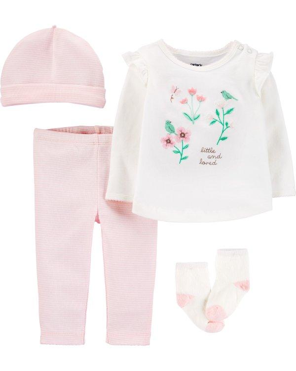 婴儿花朵4件套