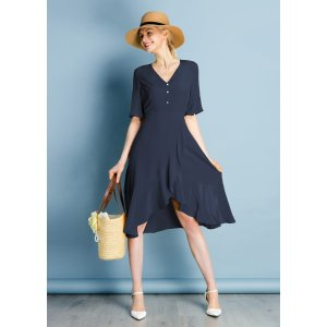 LILYSILKRuffle Trim V Neck Silk Dress