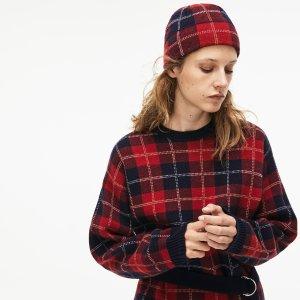LacosteWomen's Stand-Up Neck Tartan Check Print Wool Jacquard Sweater