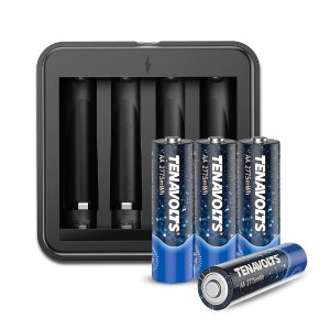 TENAVOLTS 4 Counts Lithium AA Rechargeable Batteries with Charger