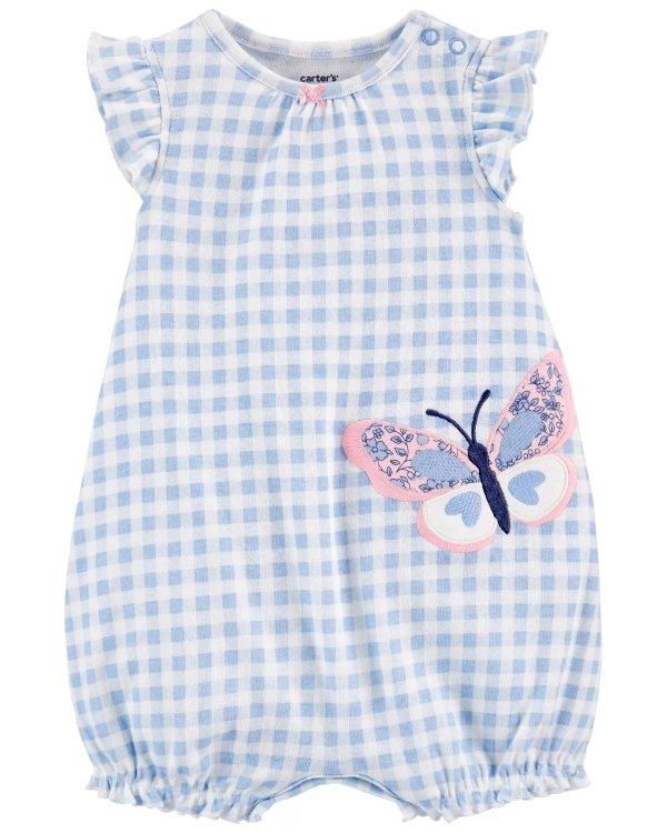 婴儿蝴蝶贴布绣短款爬服