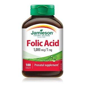 Jamieson叶酸 1,000 mcg/1 mg