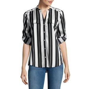 Printed Roll-Sleeve Blouse - Walmart.com