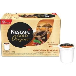 $3.8(原价$5.97)史低价:NESCAFÉ 金装埃塞俄比亚胶囊浓缩咖啡12颗