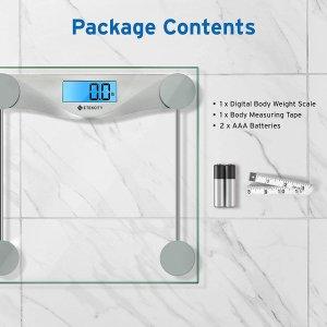 $21.24(原价$27.99)Etekcity 数字体重秤 自动开关机承重180kg 送电池卷尺