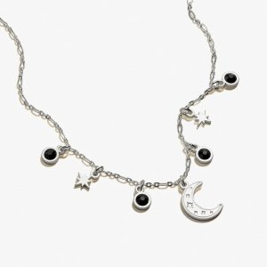 Alex and AniMoon and Crystal Delicate Adjustable Necklace Shiny Silver