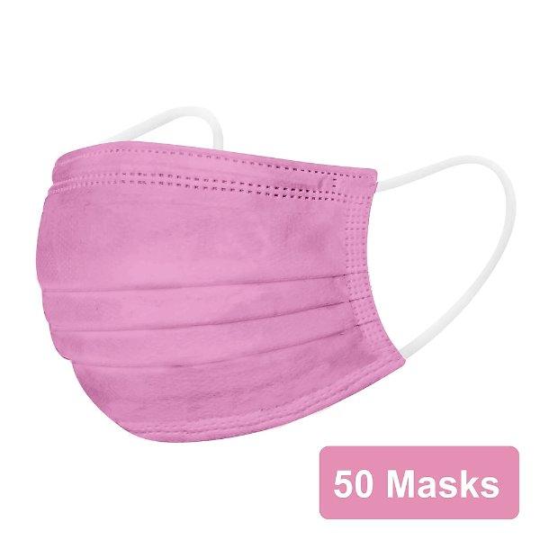 Staples 一次性3层口罩 50只 粉色