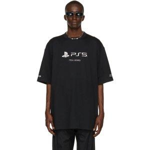 Balenciagax PS5 黑色短袖T恤