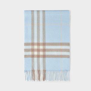 Burberry天蓝色格子款羊毛围巾