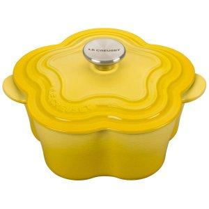 $100Le Creuset 酷彩花型珐琅铸铁锅 2.25夸脱 橙色 黄色