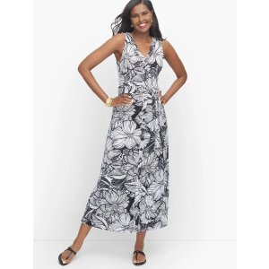 TalbotsKnit Jersey Button Front Tropical Maxi Dress