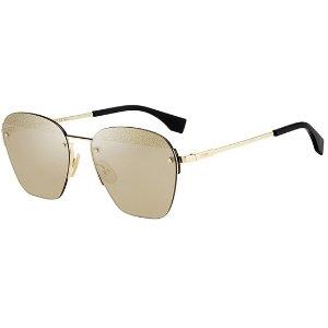 Eyedictive Fendi Geometric Rimless Aviator Sunglasses
