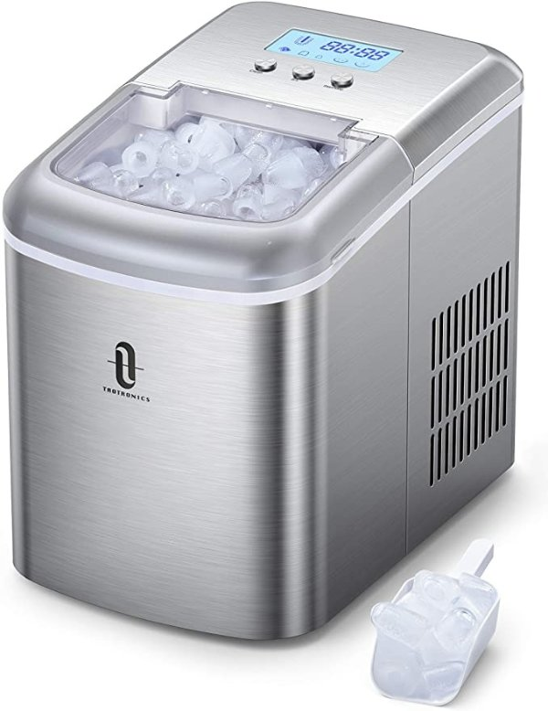 TT-IC002 Countertop Machine with LCD Display, Self-Cleaning Function, 9 Bullet Cubes Ready in 6-9 Mins, 26lbs/24H, 2.1L Electric Ice Maker with Scoop Basket for Home Kitchen Office Bar