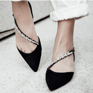 Pedder RedKELLY - BLACK CRYSTAL EMBELLISHED STRAP FLATS