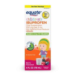 equate Children's Ibuprofen Oral Suspension 100 mg per 5 mL (NSAID), Berry Flavor , 4 fl oz