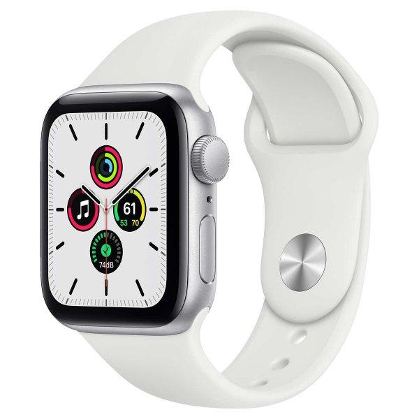 Apple Watch SE GPS, 40mm 银色配白色运动表带
