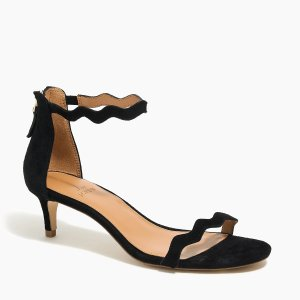 J.CrewStrappy scalloped suede kitten heels