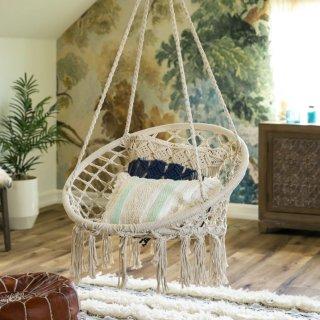 Indoor Outdoor Hanging Cotton Macrame Hammock Swing w/ Fringe Tassels