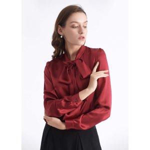 蝴蝶结真丝衬衫 多色可选